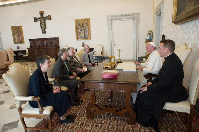 Pope Francis meets with representatives of the U.S. Leadership Conference of Women Religious in his library in the Apostolic Palace at the Vatican April 16. The same day the Vatican announced the conclusion of a seven-year process of investigation and dialogue with the group to ensure fidelity to church teachings. The outcome resulted in revised statues approved by the Vatican. (CNS/L'Osservatore Romano)