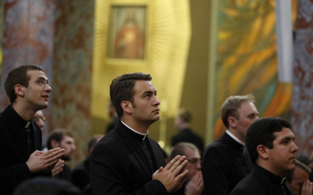 Seminarians attend Pope Francis' celebration of Mass at the Pontifical North American College in Rome last year. (CNS/Paul Haring)