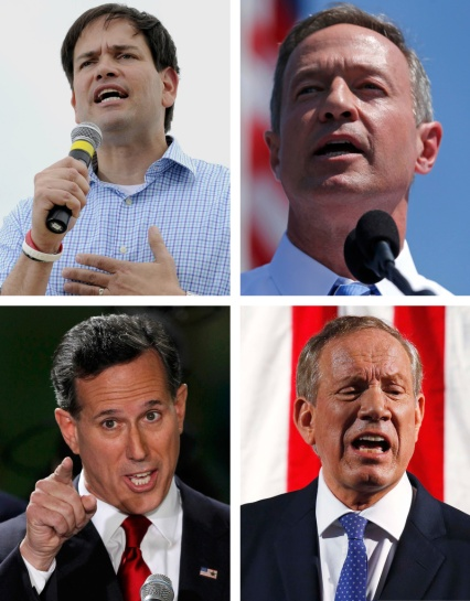 Catholics who have declared their candidacy for the U.S. presidency include, clockwise, Florida Republican Sen. Marco Rubio, former Maryland Democratic Gov. Martin O'Malley, former Pennsylvania Republican Sen. Rick Santorum, and former New York Republican Gov. George Pataki. (CNS/Reuters and EPA)