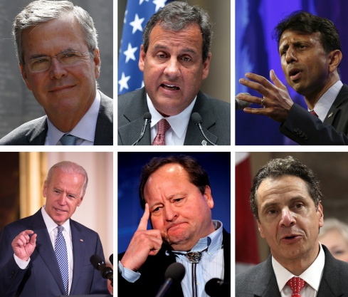Catholics who have expressed an interest in running for the U.S. presidency include, clockwise, former Florida Republican Gov. Jeb Bush, New Jersey Republican Gov. Chris Christie, Louisiana Republican Gov. Bobby Jindal, Democratic Vice President Joe Biden, former Montana Democratic Gov. Brian Schweitzer, and New York Democratic Gov. Andrew Cuomo. (CNS/Reuters and EPA)