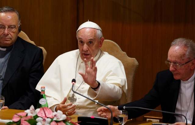 Pope Francis address a workshop on climate change and human trafficking attended by mayors from around the world at the Vatican July 21. (CNS/Paul Haring)
