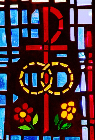 A pair of wedding bands symbolizing the sacrament of marriage is depicted in a stained-glass window at St. Isabel Church in Sanibel, Fla.(CNS file/Gregory A. Shemitz)