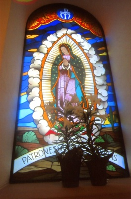 A stained-glass window rendering of Our Lady of Guadalupe at St. Ann Church in Coppell, Texas. The parish in the Diocese of Dallas has more than 30,000 members. (CNS/Mark Pattison)
