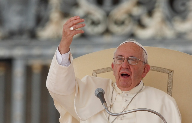 Pope Francis gestures as he speaks during his general audience  Sept. 9. (CNS/Paul Haring)
