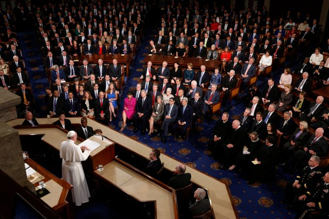 Pope Francis addresses a joint meeting of Congress in 2015 during his trip to the United States. (CNS/Paul Haring)