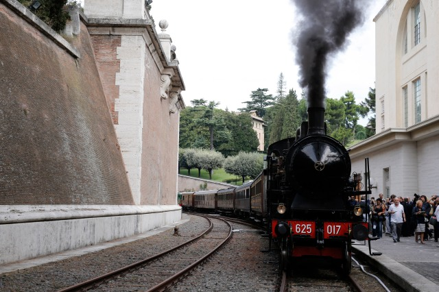 A historic train leaves from the Vatican rail station to the papal villa at Castel Gandolfo, Italy, during an inaugural special tour for journalists Sept. 11. The Vatican Museums and the Italian railway have partnered to offer train tours from the Vatican to Castel Gandolfo. (CNS/Giampiero Sposito)