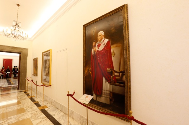 Pope Benedict XVI is seen in a portrait in a museum at the papal villa at Castel Gandolfo, Italy, during an inaugural special tour for journalists. (CNS/Giampiero Sposito)