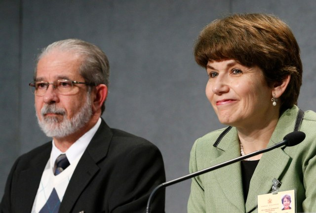 Ketty and Pedro De Rezende of Brazil attend a media briefing following a session of the Synod of Bishops on the family at the Vatican Oct. 12. The couple are observers at the synod. (CNS/Paul Haring)