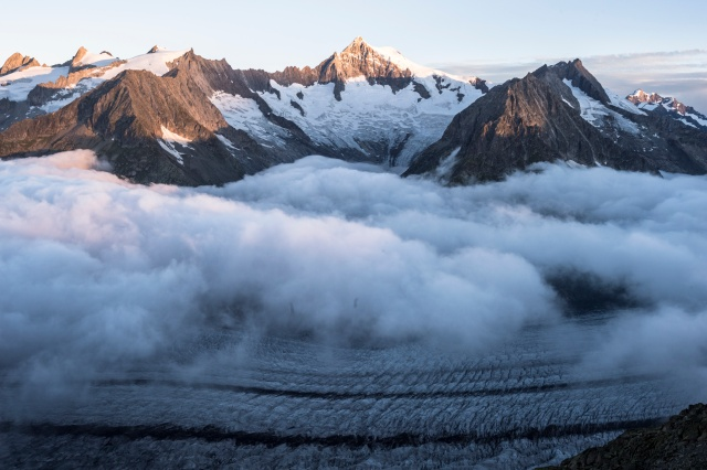 The Aletsch glacier is seen in late July in Fiesch, Switzerland. (CNS photo/Dominic Steinmann, Reuters)