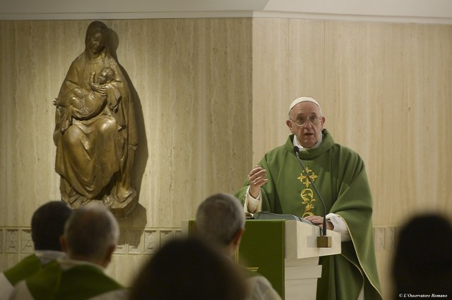 Pope Francis delivers a homily as he celebrates Mass in the chapel of the Domus Sanctae Marthae guesthouse. (CNS file/L'Osservatore Romano)