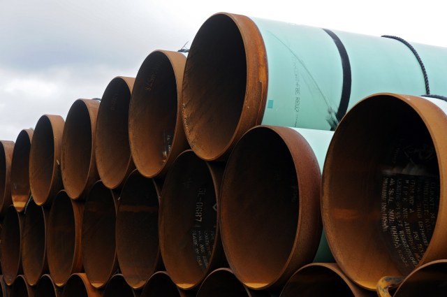 A file photo taken in 2012 shows pipes stacked at a storage yard in the TransCanada Pipe Yard near Cushing, Okla., that is to be used for the Keystone XL pipeline from Cushing to the Gulf of Mexico. U.S. President Barack Obama may have denied the permit for construction of the Keystone XL pipeline to carry tar sands oil from Alberta to U.S. Gulf Coast refineries, but Keystone's opponents aren't sure the $8-billion project is dead yet. (CNS photo/larry Smith, EPA)