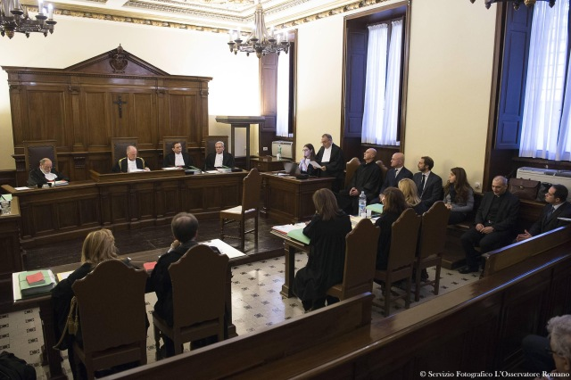 The opening proceedings for the 'VatiLeaks' case are seen in a Vatican courtroom Nov. 24. All five people accused of involvement in leaking and publishing confidential documents about Vatican finances were present at the opening of the criminal trial in a Vatican courtroom. (CNS photo/L'Osservatore Romano via Reuters)