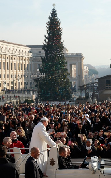 The Christmas tree is seen as Pope Francis greets the crowd during his general audience in St. Peter's Square Dec. 16. (CNS/Paul Haring)