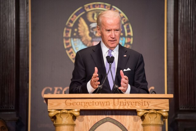 Vice President Joseph R. Biden Jr. delivers remarks at the Interfaith Gathering for Solidarity, Understanding and Peace at Georgetown University Dec. 16. (CNS/courtesy Georgetown University)
