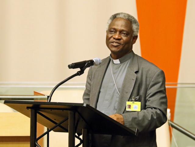 Ghanaian Cardinal Peter Turkson, president of the Pontifical Council for Justice and Peace, speaks on Pope Francis' encyclical on the environment at the United Nations in New York City last year. (CNS file/Gregory A. Shemitz)
