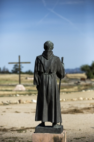 A statue of St. Junipero Serra, the Spanish-born Franciscan missionary, looks out from Mission San Antonio de Padua in Jolon, Calif. (CNS/Nancy Wiechec)