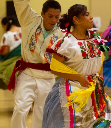 The image of Our Lady of Guadalupe is featured on the clothing of many of many of the dancers participating in an Oct. 30 event at Our Lady of the Valley Catholic Church in Caldwell, Idaho. (CNS/Chaz Muth)