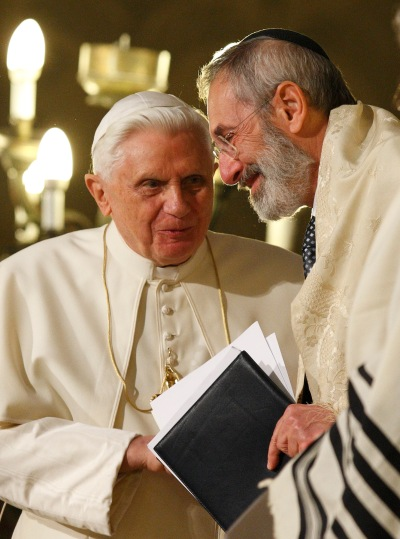 Pope Benedict XVI talks with Rabbi Riccardo Di Segni, chief rabbi of Rome, during the pope's visit to Rome's main synagogue in 2010. Pope Francis will visit the same synagogue Jan. 17. (CNS/Paul Haring)