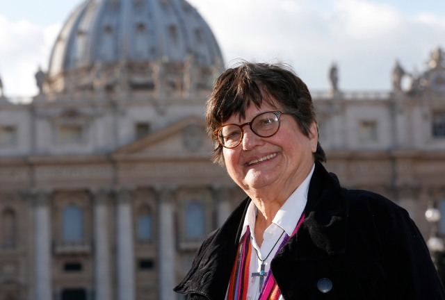 Sister Helen Prejean, who has worked in prison ministry and against the death penalty for decades, visits St. Peter's Square Jan. 21. During a meeting the same day, Pope Francis asked Sister Prejean about the case of Richard Masterson, a Texas man who was executed the previous day. (CNS/Paul Haring)