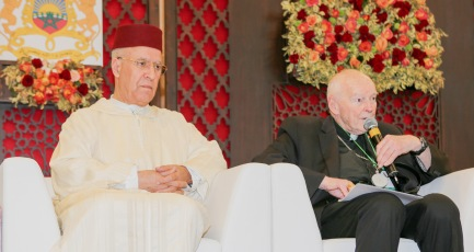 Cardinal Theodore E. McCarrick, retired archbishop of Washington, speaks alongside Sheik Abdallah Bin Bayyah during the Marrakesh conference on the rights of religious minorities in the Muslim world, in Morocco Jan. 27. (CNS/Azure Agency)