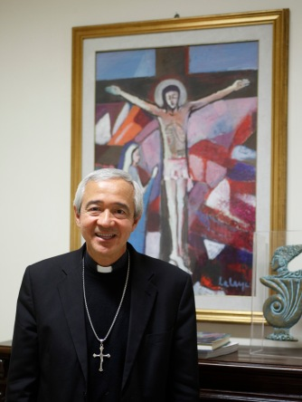 Mexican Archbishop Jorge Patron Wong, secretary of seminaries at the Vatican's Congregation for Clergy, pictured at his office at the Vatican. (CNS/Junno Arocho Esteves)