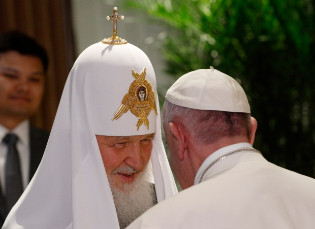 Russian Orthodox Patriarch Kirill of Moscow greets Pope Francis at Jose Marti International Airport in Havana Feb. 12. The pope was traveling to Mexico for a six-day pastoral visit. (CNS/Paul Haring)