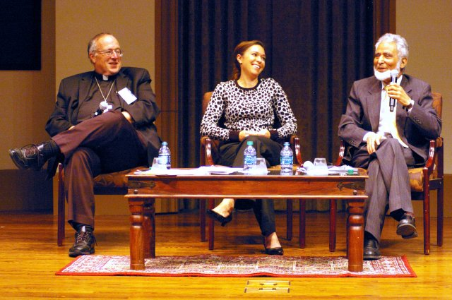 Bishop Robert W. McElroy of San Diego and Muslim leader Sayyid M. Syeed discuss anti-Islamic bigotry at the University of San Diego. Facilitating the discussion was Ami Carpenter, center, an associate professor. (CNS/Denis Grasska, The Southern Cross)