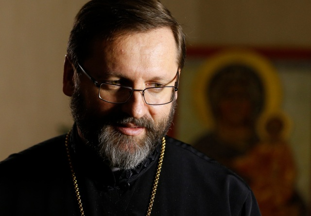 Archbishop Sviatoslav Shevchuk of Kiev-Halych, major archbishop of the Ukrainian Catholic Church, during an interview in Rome Feb. 23. (CNS/Paul Haring)