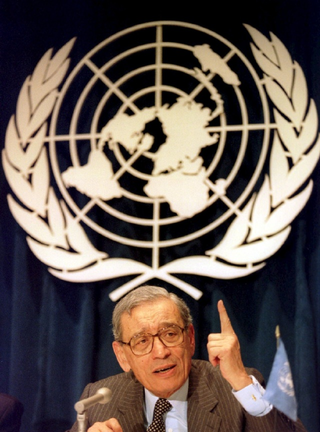 Former U.N. Secretary-General Boutros Boutros-Ghali died Feb. 16 at a hospital in the Egyptian city of Giza at age 93. He is pictured in a 1993 photo. (CNS photo/Mike Segar, Reuters)
