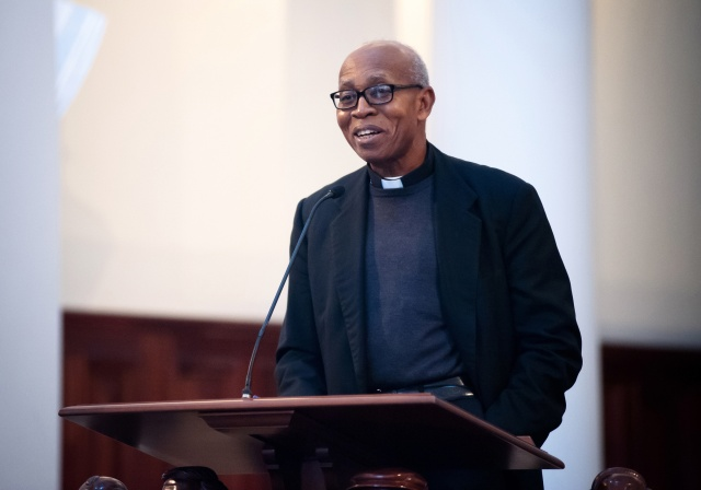 "Archbishop Anthony Obinna of Owerri, Nigeria, speaks March 4 on the theology and practice of reconciliation during the ""Black & White in America: How Deep the Divide?"" conference at Samford University in Birmingham, Ala. (CNS/Mary D. Dillard, One Voice)"