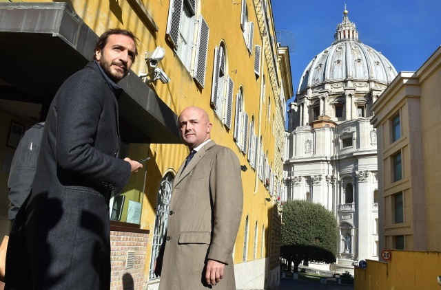 Italian journalists and authors Emiliano Fittipaldi and Gianluigi Nuzzi at the Vatican in November. (CNS/EPA)