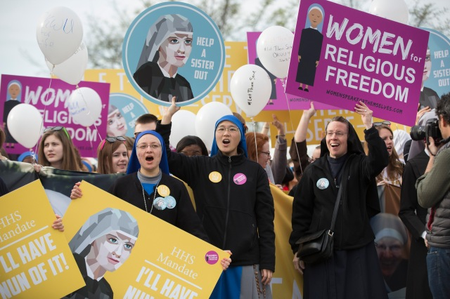 Women religious and others demonstrate against the Affordable Care Act's contraceptive mandate March 23 near the steps of the U.S. Supreme Court in Washington. (CNS/Jaclyn Lippelmann, Catholic Standard)