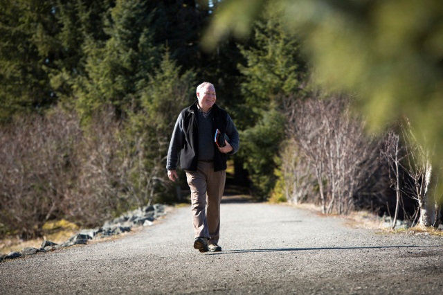 Bishop Edward J. Burns of Juneau, Alaska, walks outside of the Shrine of St. Therese in Juneau in this 2014 photo. (CNS photo/Nancy Wiechec)