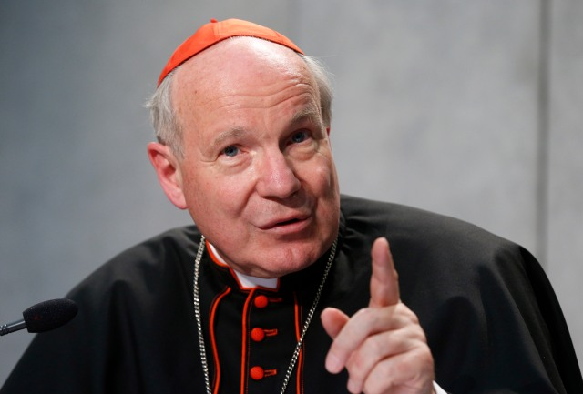 "Austrian Cardinal Christoph Schonborn speaks during a news conference for the release of Pope Francis' apostolic exhortation on the family, ""Amoris Laetitia"" (""The Joy of Love""), at the Vatican April 8. (CNS/Paul Haring)"