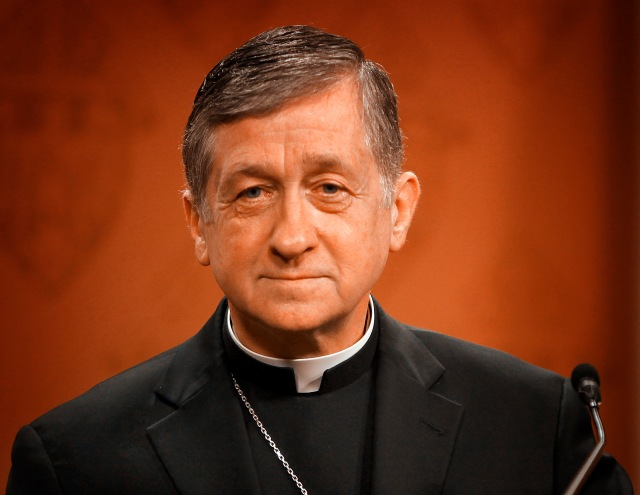 """Archbishop Blase J. Cupich of Chicago listens to a question from a member of the media April 8 about Pope Francis' apostolic exhortation """"Amoris Laetitia"""" (""""The Joy of Love""""). (CNS/Karen Callaway, Catholic New World)"""