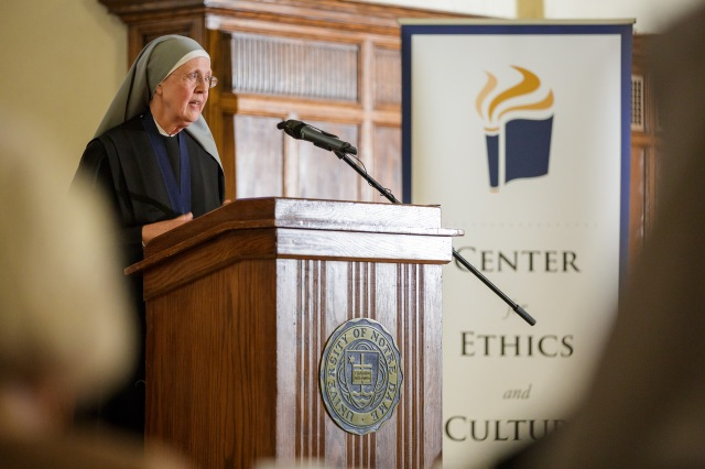 Sister Loraine Marie Maguire, mother provincial of the Denver-based Little Sisters of the Poor, speaks April 9 on the campus of the University of Notre Dame. (CNS/Peter Ringenberg, Notre Dame Center for Ethics and Culture)