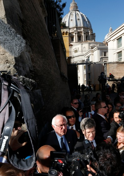 Sen. Bernie Sanders, a U.S. presidential candidate, speaks to media outside the Vatican after delivering an address at a conference on Catholic social teaching April 15. (CNS/Paul Haring)