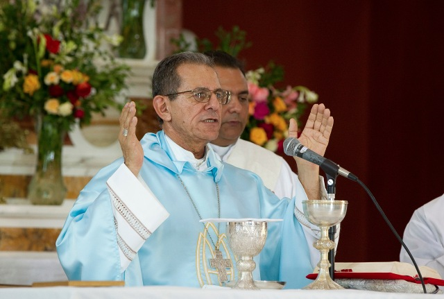 Cuban Archbishop Juan Garcia Rodriguez of Camaguey celebrates Mass in 2012 at the Shrine of Our Lady of Charity of El Cobre in Cuba. (CNS/Nancy Wiechec)