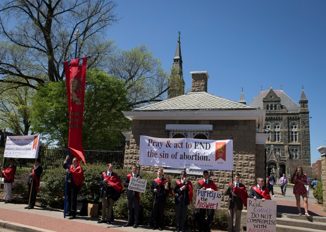 Pro-life demonstrators gather outside the campus of Georgetown University in Washington April 20. (CNS photo/Tyler Orsburn)