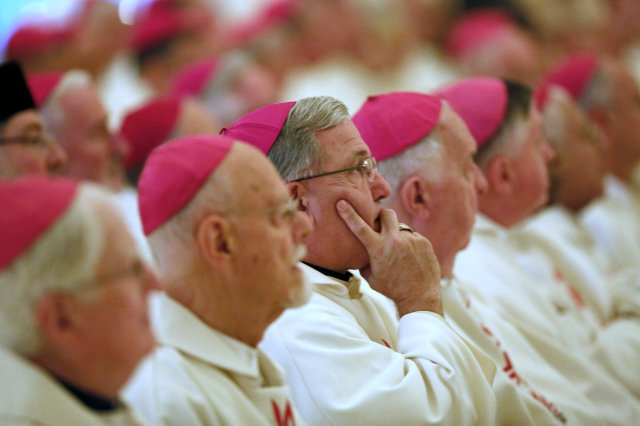 U.S. bishops are seen before celebrating Mass during their 2015 fall general assembly in Baltimore. (CNS/Bob Roller)