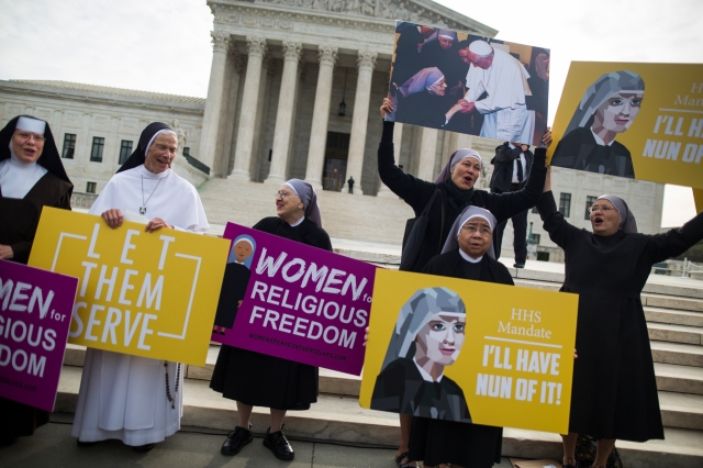 Women religious demonstrate March 23 against the Affordable Care Act's contraceptive mandate outside the U.S. Supreme Court in Washington. (CNS/EPA)