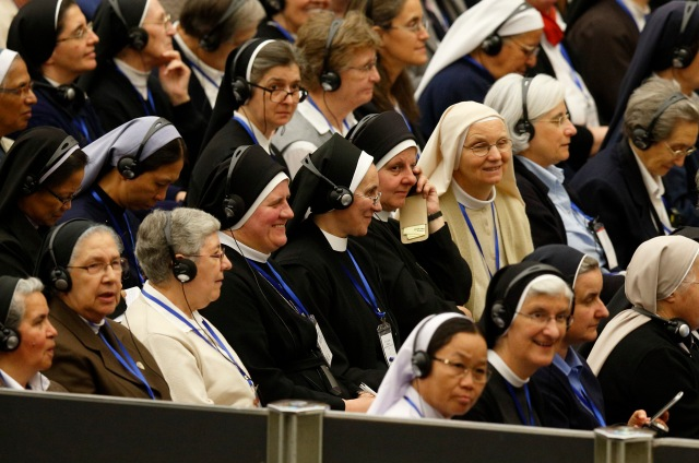 Heads of women's religious orders attend an audience with Pope Francis in May. (CNS/Paul Haring)