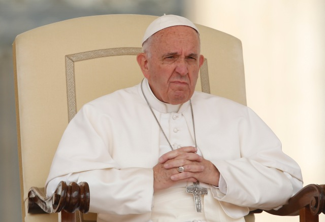 Pope Francis looks on during a general audience in St. Peter's Square last year. (CNS/Paul Haring)