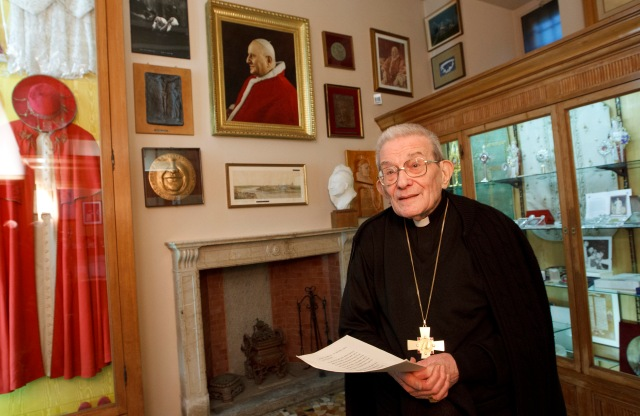 Italian Cardinal Loris Capovilla, who served St. John XXIII before and after he became pope, died May 26 at the age of 100 in Bergamo, near Milan. He is pictured in a 2012 photo. (CNS/Paul Haring)