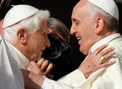 Pope Benedict XVI and Pope Francis at a Vatican event in 2014. (CNS/Paul Haring)