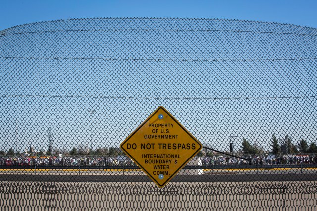 When Pope Francis celebrated Mass in Ciudad Juarez, Mexico, Feb. 17, he could be seen from a U.S. border fence in El Paso, Texas. (CNS/Nancy Wiechec)