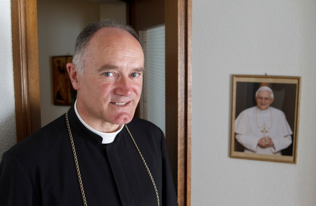 Bishop Bernard Fellay, superior of the Society of St. Pius X, is pictured in 2012 at the society's headquarters in Menzingen, Switzerland. (CNS/Paul Haring)
