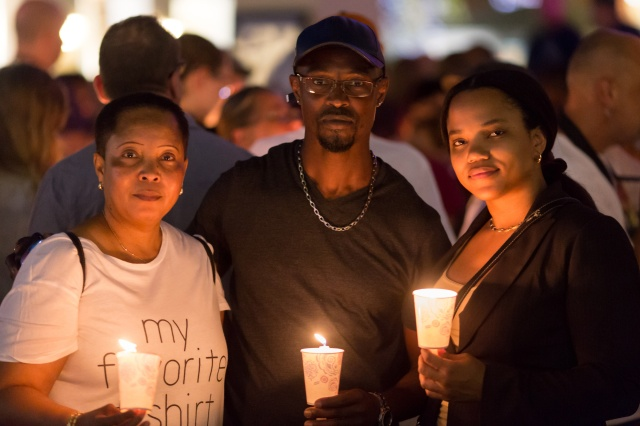 People gather in West Palm Beach, Fla., June 12 to mourn those killed in a mass shooting at a gay nightclub in Orlando, Fla. (CNS/Tom Tracy)