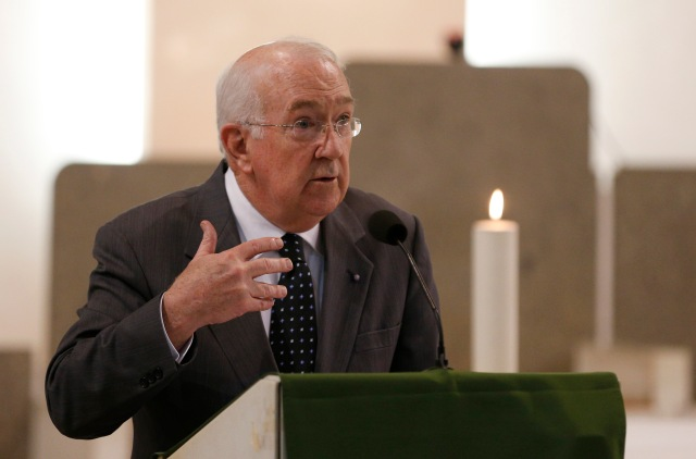 Ken Hackett, U.S. ambassador to the Holy See, speaks during a service in remembrance of the victims of the Orlando, Fla., terrorist attack at St. Patrick's Church in Rome June 16. (CNS/Paul Haring)