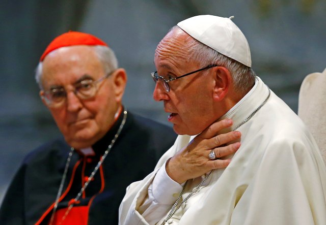 Pope Francis gestures as he speaks during the opening of the Diocese of Rome's annual pastoral conference at the Basilica of St. John Lateran in Rome June 16. Looking on is Cardinal Agostino Vallini, papal vicar for Rome. (CNS/Reuters)